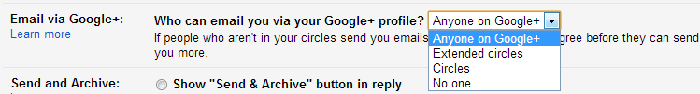 who can email you via your Google+ profile setting image