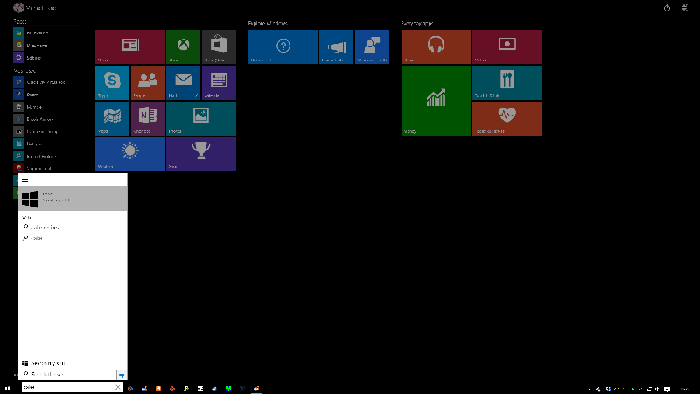 Windows 10 Start Screen Search Build 9926